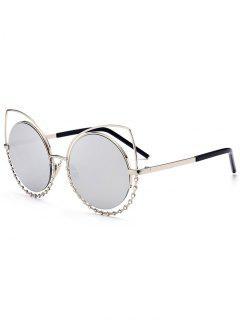 Alloy Rhinestone Cat Eye Sunglasses - Sliver Frame+mercury Lens