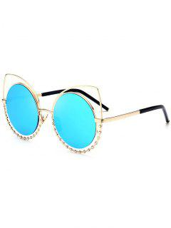 Alloy Rhinestone Cat Eye Sunglasses - Gole Frame + Blue Lens