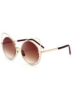 Alloy Rhinestone Cat Eye Sunglasses - Gold Frame + Dark Brown Lens