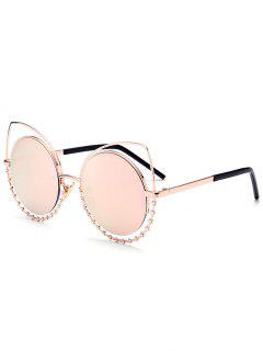 Alloy Rhinestone Cat Eye Sunglasses - Gold Frame + Pink Lens