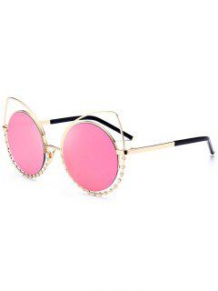 Alloy Rhinestone Cat Eye Sunglasses - Glod Frame + Pink Lens