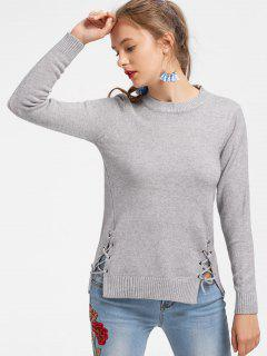 Slit Fitting Lace Up Sweater - Gray