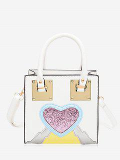 Glitter Heart Color Block Handbag - White