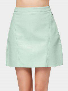 Side Zip Faux Leather Mini Skirt - Light Green L