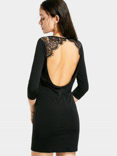 Lace Panel Backless Mini Dress - Black 2xl