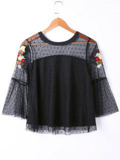 See Thru Floral Embroidered Polka Dot Overlay Top - Black M