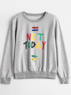Crew Neck Embellished Letter Sweatshirt - Gray