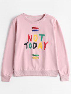 Crew Neck Embellished Letter Sweatshirt - Pink