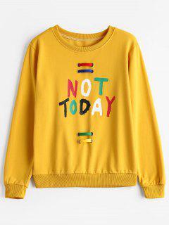 Crew Neck Embellished Letter Sweatshirt - Yellow