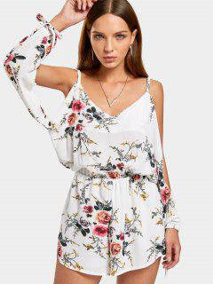Floral Print Cut Out Sleeve Cami Romper - White S