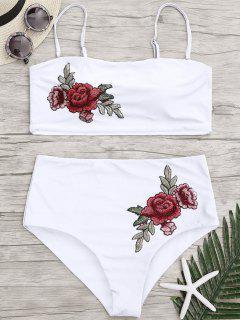 Applique Plus Size High Waisted Bikini - White Xl