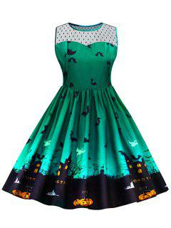 Halloween Lace Panel Plus Size Dress - Green 3xl