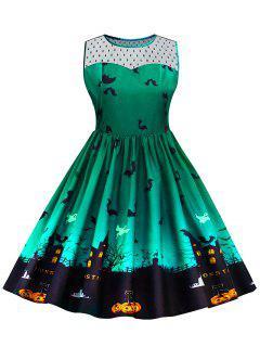 Halloween Lace Panel Plus Size Dress - Green 5xl