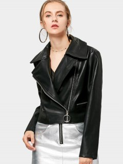 Cropped Zip Up Faux Leather Biker Jacke - Black S