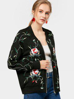 Zip Up Loose Floral Embroidered Jacket - Black S