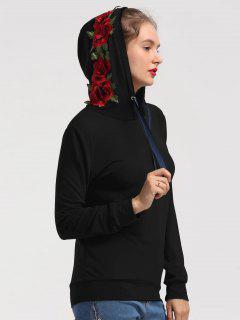 Floral Patchwork Drawstring Hoodie - Black S