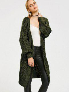 Loose Cable Knit Open Front Cardigan - Army Green