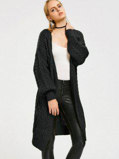 Loose Cable Knit Open Front Cardigan - Black