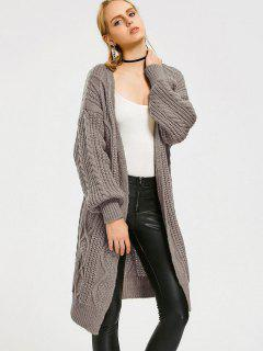 Loose Cable Knit Open Front Cardigan - Gray