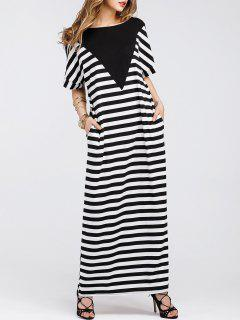 Batwing Sleeve Striped Maxi T-shirt Dress - Stripe Xl