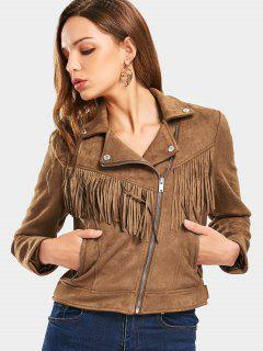 Zip Up Fringed Faux Suede Cropped Jacket - Coffee M