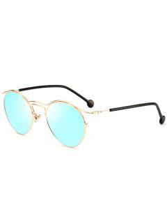 Retro Pilot Sunglasses With Metal Frame - Golden+ice Blue