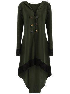 Manteau Grande Taille à Lacets Et Capuche Haut-Bas - Vert Armée  5xl