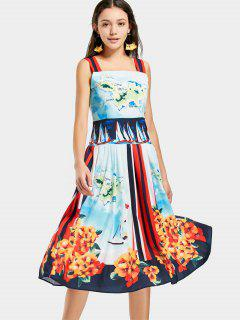 Square Collar Printed Sleeveless Dress - Multi M