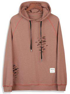 Suture Raglan Sleeve Distressed Pullover Hoodie - Dark Khaki M