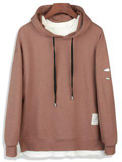 Drop Shoulder Distressed Faux Twinset Pullover Hoodie - Dark Khaki M