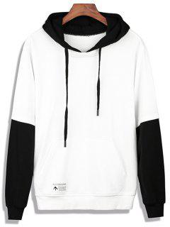 Color Block Faux Twinset Appliques Pullover Hoodie - White Xl