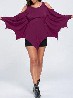 Halloween Cold Shoulder Batwing Top - Violet Rose M