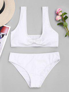 Scoop Ribbed Texture Knotted Bikini - White S
