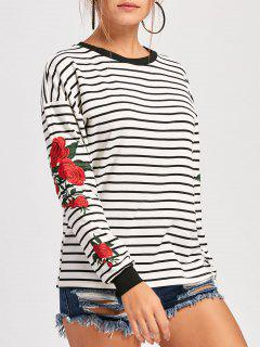 Floral Embroidered Crew Neck Drop Shoulder Sweatshirt - White Xl