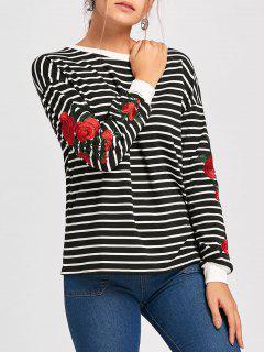 Blume Gesticktes Rundhalsausschnitt Langärmeliges Sweatshirt - Schwarz Xl