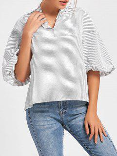 Puff Sleeve Metal Ring Striped Blouse - White S