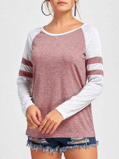 Double Striped Raglan Sleeve Top - Pink L