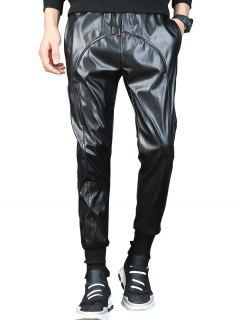 Drawstring Waist Beam Feet Faux Leather Pants - Black 36