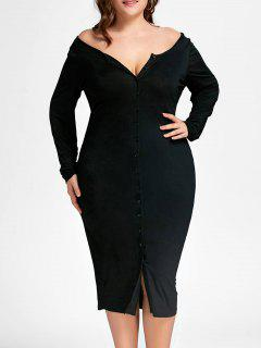 V Neck Plus Size Button Up Maxi Dress - Black Xl