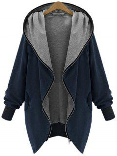 Zip Up Plus Size Hooded Coat - Cadetblue 2xl