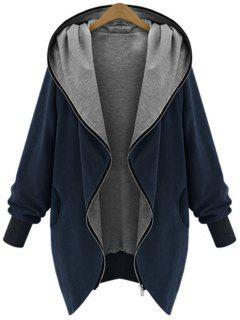 Zip Up Plus Size Hooded Coat - Cadetblue 4xl
