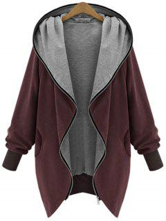 Zip Up Plus Size Hooded Coat - Wine Red Xl