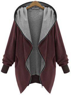 Manteau à Capuche Grande Taille Zippé - Rouge Vineux  Xl
