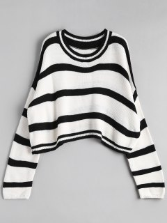 Crew Neck Stripe Cropped Sweater - Off-white