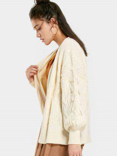 Cable Knit Lace Up Oversized Cardigan - Beige