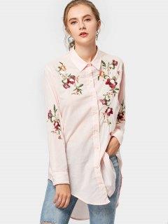 Camisa Bordada Floral Alta Baja - Rosa S