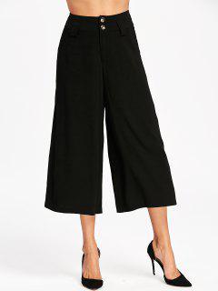 Pantalones De Pierna Ancha Cosida De Cintura Alta - Negro 2xl