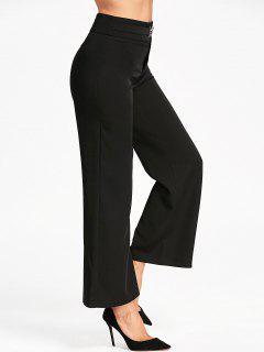 High Waist Wide Leg Suit Pants - Black 2xl
