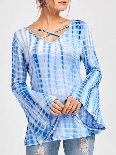 Criss Cross Bell Sleeve Tie Dye T-shirt - Blue L