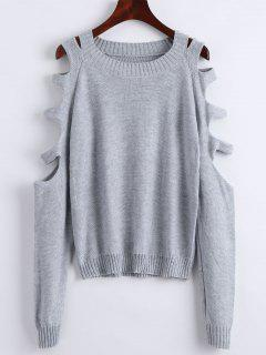 Crew Neck Cut Out Pullover Sweater - Gray L